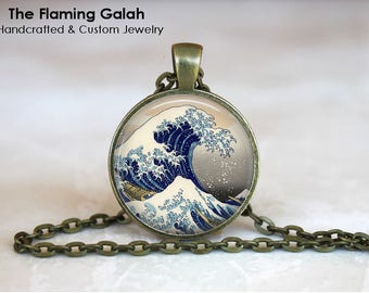 JAPANESE WAVE Pendant • Ancient Wave • Traditional Japanese Art • Japanese Jewellery • Gift Under 20 • Made in Australia (P1502)