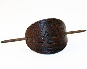 Leather Hair Barrette With Valknut, Hair Stick, Hair Slide, Hair Pin,Celtic Symbol! Great gift! North Symbol! Hair Accessories!