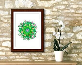 "Mandala printable instant download digital, 7"" x 7"" geometric circle, spiritual yoga wall poster, art print, inexpensive home wall decor."