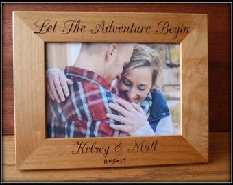She Said Yes Engagement  Picture Frame, Let the Adventure Begin Engagement Gift Personalized Wedding, Party, Bridal Party, Gift Mr And Mrs