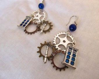 Steampunk Tardis Earrings