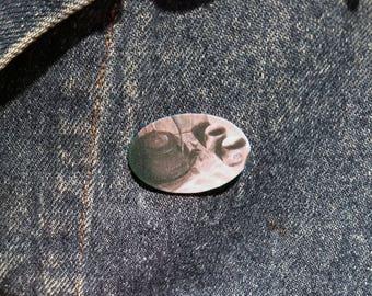 Tea Set Lapel Pin - Charcoal Illustration - Shrink Plastic Pin