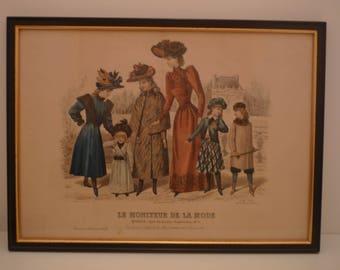 """1800's Antique Fashion Print from French Fashion Magazine """"Le Moniteur de la Mode"""" 1890 Paris Ladies Dress Children's clothe engraving frame"""