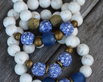 African Trade Bead Bracelets (Blue)