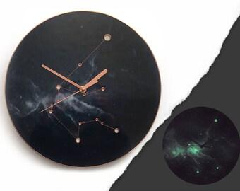 Aquarius Constellation, Cosmos Art, Astrology Clock, Glow in the Dark, Trendy Clock, Modern Wall Clock, Steampunk Wall Clock, Gift Idea