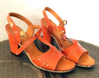 Vintage Antique Retro Estate 1960's Amalfi by Rangoni Orange Heels MOD Shoes Made in Italy Size 6 Strappy Sandals Pumps
