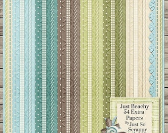 On Sale 50% Just Beachy Digital Scrapbook Kit Extra Papers Pack - Digital Scrapbooking