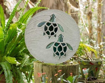 """Baby Sea Turtles Hatchlings Stained Glass Stepping Stone 18"""" Diameter Perfect for Your Garden Patio or a Path to the Backyard Fish Pond #801"""