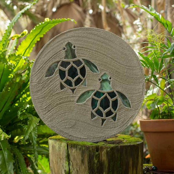 "Baby Sea Turtles Hatchlings Stained Glass Stepping Stone 18"" Diameter Perfect for Garden Patio or a Path to Your Back Yard Fish Pond #796"