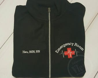Emergency Room ER Nurse Fleece Jacket with Name-RN LPN zipup light Or Heavy weight fleece jacket with several color options-typewriter