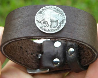 Vintage Buffalo Indian Nickel coin cuff Buffalo Bison leather Bracelet  wristband adjustable size wrist nice for gift for Bills Bulls fans