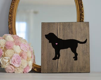Hand Painted Bloodhound Silhouette on Stained Wood, Dog Decor, Dog Painting, Gift for Dog People, New Puppy Gift, Housewarming Gift