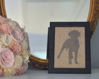 Labrador Retriever Silhouette on Burlap, Labrador Retriever Art, Labrador Retriever Decor