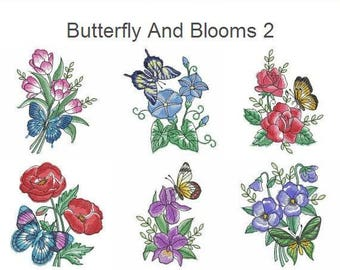 Butterfly And Blooms 2 Machine Embroidery Designs Instant Download 4x4 5x5 6x6 hoop 10 designs APE2567