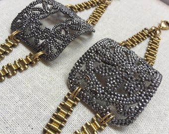Antique French Steel Cut Buckle Cuff on Vintage Brass Bookchain with Freshwater Pearl