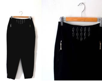 Black trousers / tapered / rhinestone / vintage / 90s trousers / high waisted trousers / womens trousers / zip trousers / tailored trousers