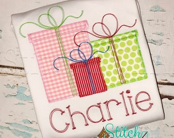 Christmas Present Trio Applique, Christmas Presents Shirt, Girl Christmas Shirt, Presents Trio Applique, Christmas Shirt, Girls Presents Tee