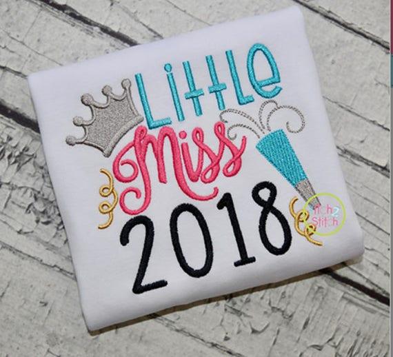 Little Miss 2018 New Year Shirt, New Year's Eve Shirt, 2018 Shirt