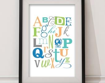 Baby Alphabet Nursery Wall Art, Nursery Decor, Baby ABCs