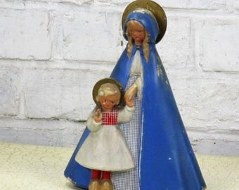 Dutch Virgin Mary Madonna With Infant Child Wooden Shoes Plaster Statue 9.05""