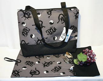 Lunch bag insulated and waterproof, dragon pattern, lunch box, school lunch tote