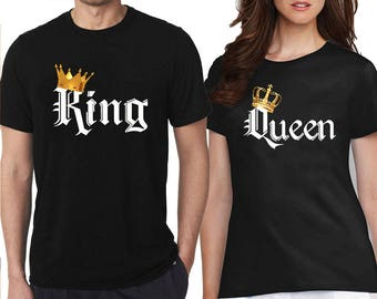 King Queen TSHIRT COLOR Gold Crown White Font Best Matching Love Couple Tee