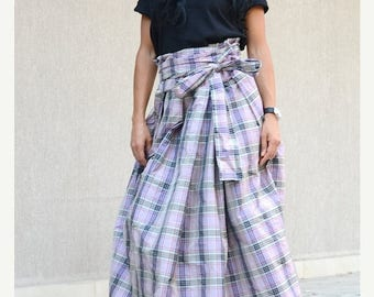 Long plaid skirt | Etsy