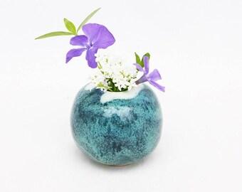 bud vase ~ tiny ceramic vase ~ mini stoneware globe-shaped vase ~ small round flower vase ~ raindrop blue glaze ~ blue moon vase