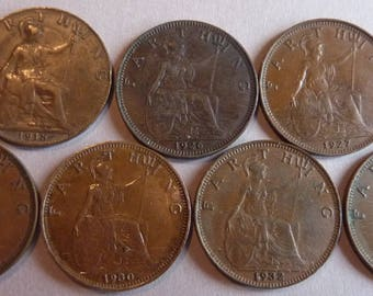 7 British King George V Farthing Coins. 7 Different Dates. Great Condition