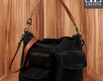 LECONI Shoulder Bag lady bag leather bag suede leather Anthracite LE0039-VL