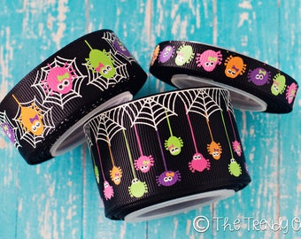 "GLOW in the Dark - ""EEEK! Spiders!""- 3/8"", 7/8"", 1.5"" - Halloween - U.S. DESIGNER - High Quality Grosgrain Ribbon - 5yd Roll"