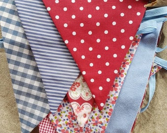 Summer bunting - red and blue