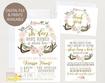 Oh Deer Baby Shower Invitation, Book Request, Thank You Card, Prints and Digital Available, Envelopes with Prints, Boho, Antlers, Flowers