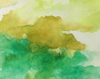 Green Thumb. Original Affordable Watercolor Abstract Painting, 11x15 Unframed Wall Art with Green, Yellow. Customize it!