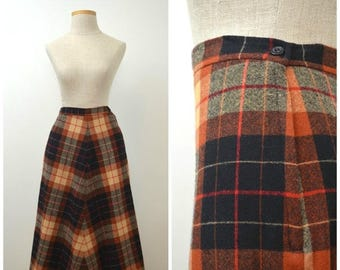 35% off Storewide SALE On Sale   Kirschtorte   Vintage 70s Plaid Wool Skirt   1970s A-Line Skirt