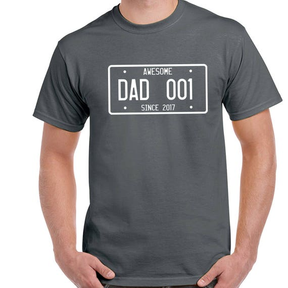 Personalised Father's Day gift, Dad T Shirt ,Custom Awesome Dad Since T Shirt, fathers day gift, 001 & year can be changed, Sizes S-5XL