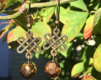 Bronze Celtic knot earrings