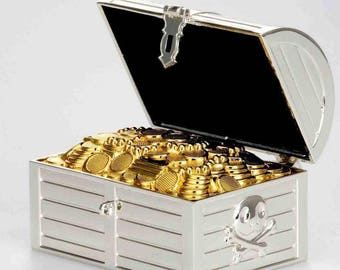 Exclusive Money Box Treasure chest silvered and tarnish-proof-solid
