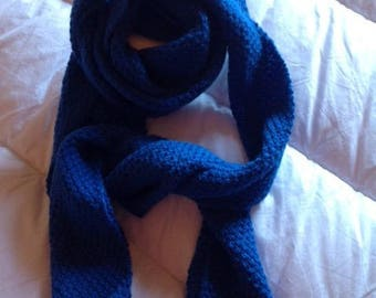 Long blue hand-knitted scarf