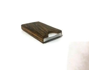 Handmade Exotic Bocote Wood Business Card Holder