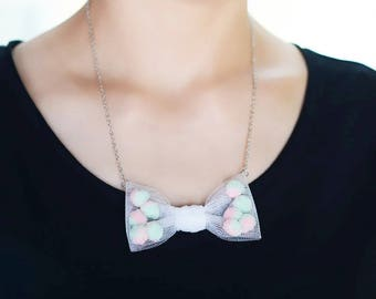 bubble necklace,cute bow tie necklace,gift for girl, women gift,birthday,pompon necklace,mesh bow tie necklace