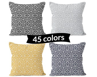 Greek Key Pillow Cover, Black Gray Yellow Navy Greek Key Throw Cushion Cover, Geometric Decorative Accent Pillow Cover