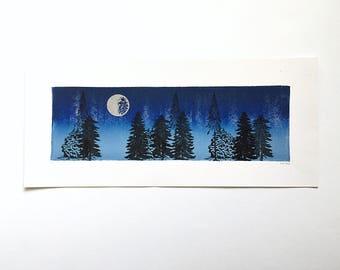 Letterpress Print  - Silver Moon over Trees