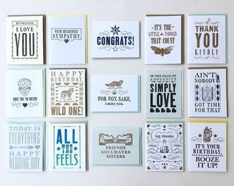 15 Letterpress Cards *SECONDS*