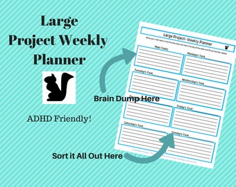 Large Project Weekly Planner/ ADHD Planner/ Weekly Plan/ Project Schedule/ Weekly Planner/ Mind Map/ Large Task Scheduler/ Home Binder Pages