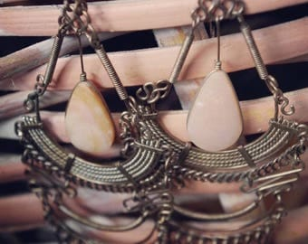 Pink Quartz Stone Very Large Boho Dangle Earrings-  Paradox Thrift