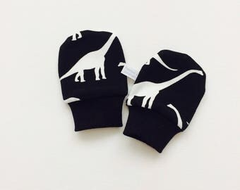Organic baby mittens, baby scratch mitts, black knit fabric with dinosaurs. Baby Gift Boy or Girl Hand Covers Gender neutral