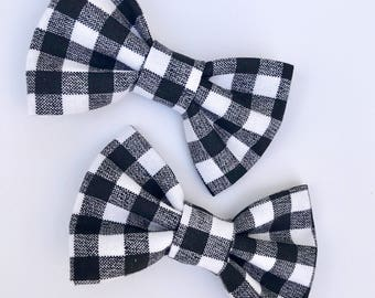 Black and White Plaid-Pig Tail Set-Flat alligator clip