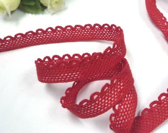"5yds -50 yds Vintage Red Cotton Blend Crochet Lace Trim 7/16"" (almost 1/2"")  /11 mm width, good for Clothing L591"