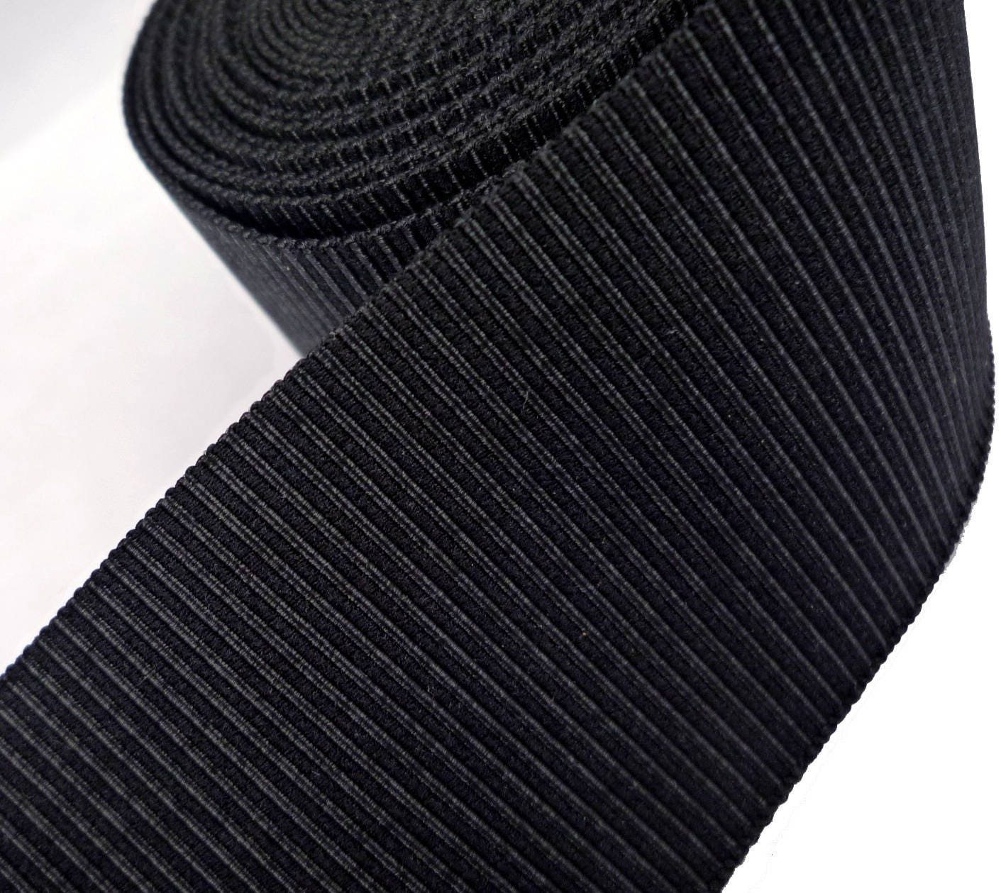 Strong Thick & Stretch Black Petersham Ribbon Grosgrain
